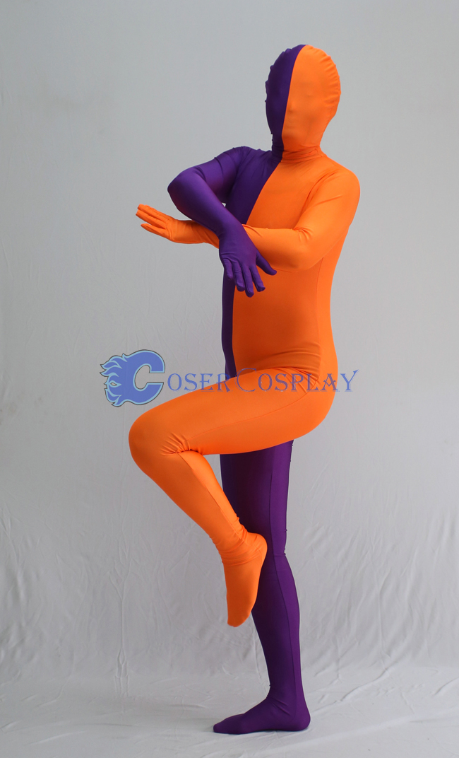 Purple And Orange Split Zentai Suits